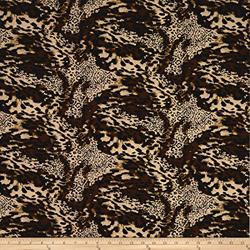 Jersey Knit Print Fabric - Fabric Merchants Double Brushed Spandex Jersey Knit Multi Animal Print Fabric by the Yard, Brown