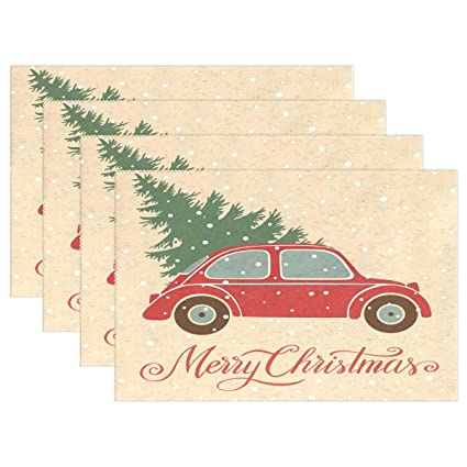 Vintage Red Truck Christmas Placemats.Amazon Com Christmas Tree Vintage Truck Placemats Table