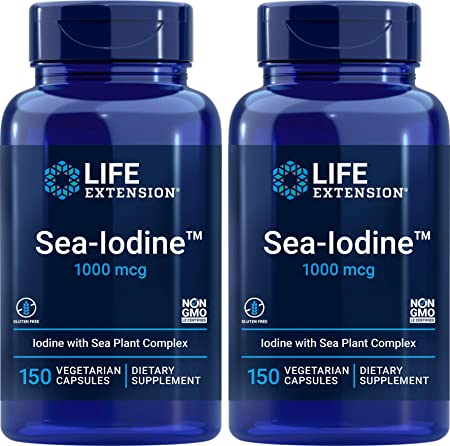 Life Extension Sea Iodine 1000 mcg, 150 Veg Caps (Pack of 2) - Natural Iodine Supplement from Kelp and Bladderwack