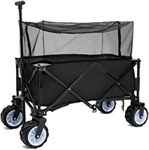 PA Collapsible Folding Wagon Foldable Outdoor Beach Shopping Garden Cart with Wheels Push Or Pull (IPA009406B)