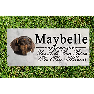 Broad Bay Dachshund Dog Memorial Stone Personalized Dachshund Sign Garden Marker Outdoor Grave Headstone Plaque: Kitchen & Dining