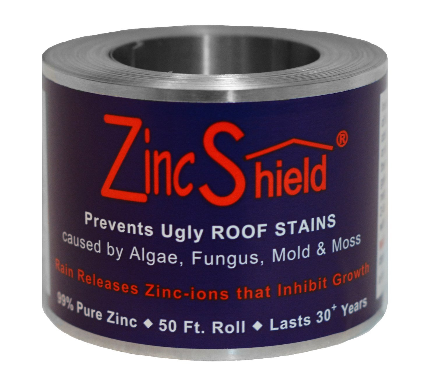 ZincShield Nail Set - Includes (2) x 2.5'' 50 Ft. Roll & (2) x Bag of Nails Installation Kit to Avoid Ugly Roof Stains from Moss, Algae, Fungus, and Mildew - Made in the USA
