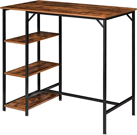 Amazon Com Ibuyke 40 H Bar Table Industrial Standing Computer Desk With 3 Storage Shelves High Dining Table For Kitchen Rustic Brown Counter Table Utmj054h Tables