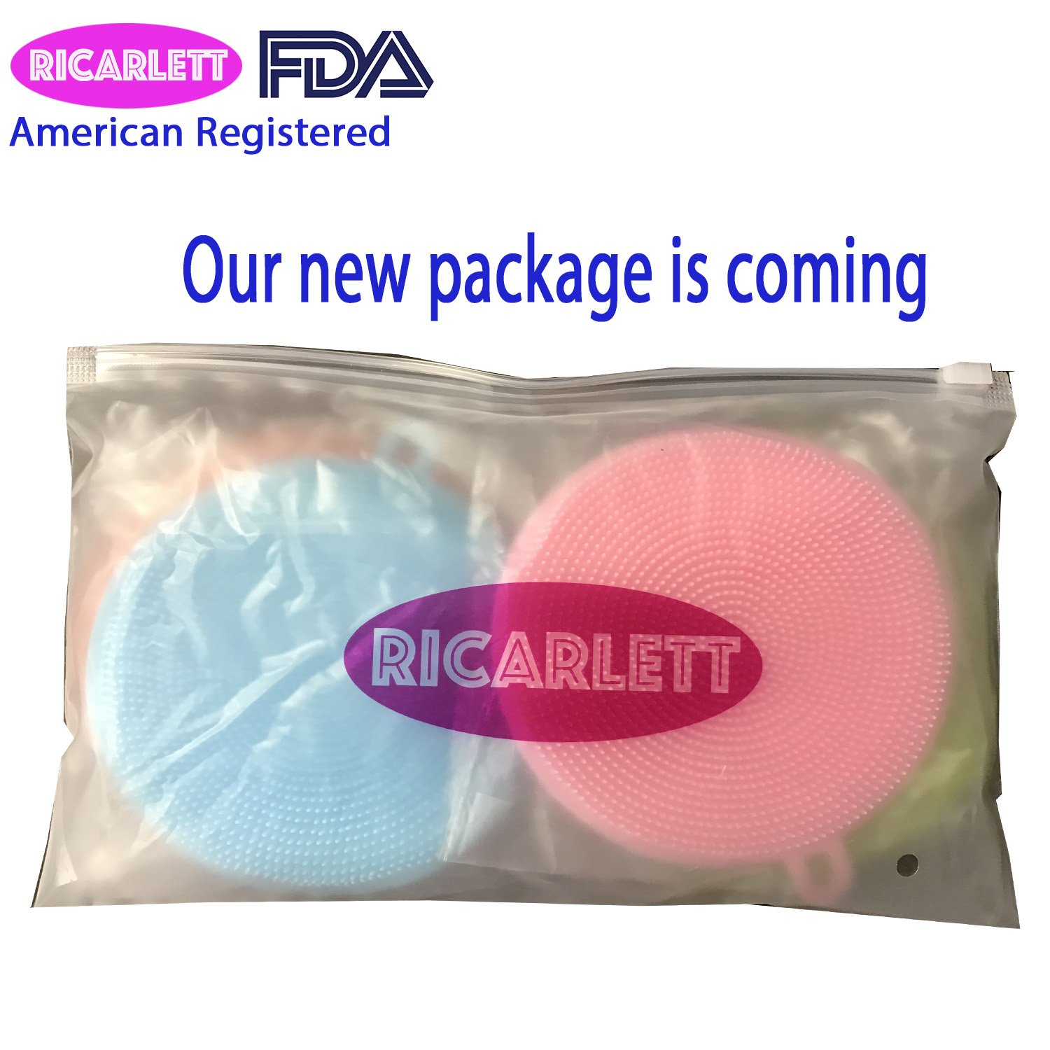 Silicone Non Sick All Purpose Dish Brush Sponge Towel Scrubber For Kitchen Wash Dish Wash Makeup Brush Wash Body Wash Face Wash Fruit and Vegetable Wash Package of 4 Ricarlett