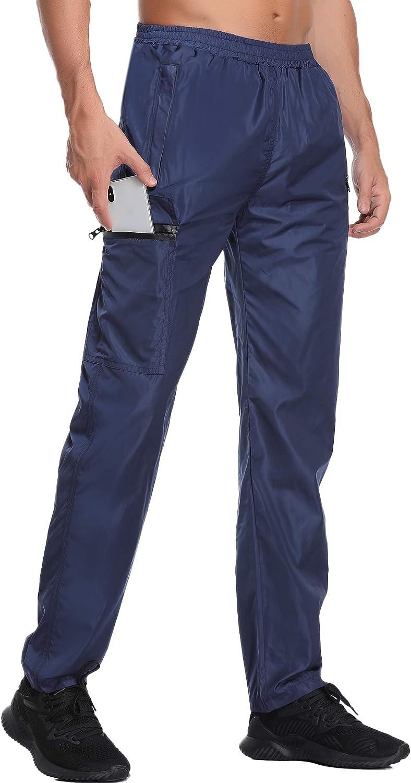Abollria Herren Regenhose wasserdichte Sporthose Atmungsaktiv Windschutz Leichte Outdoor /Überhose mit Zip Taschen