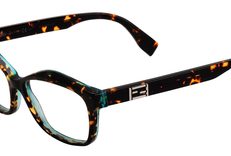 fa8de98940 FENDI 0094 Eyeglasses 0D59 Orange Spotted Havana Aqua 54-15-140   Amazon.co.uk  Clothing