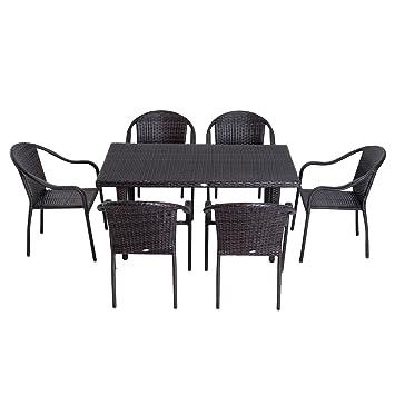 Outsunny Conjunto de Mesa y Sillas Muebles Apilable Ratán para ...