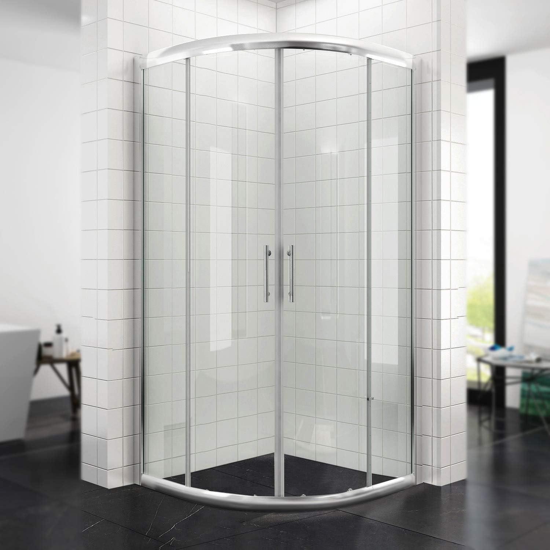 CUADRANTE Mampara de ducha con marco (Blanco/Negro) Radius 550 redondo ducha puerta corredera ducha ducha pared: Amazon.es: Bricolaje y herramientas