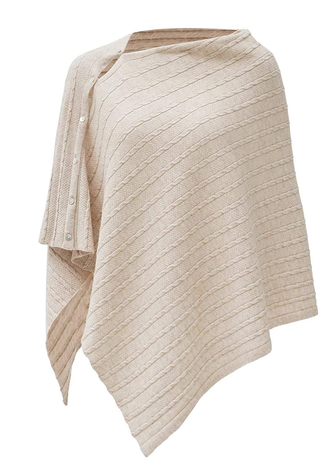 Scarf Womens Cable Pattern Lightweight Kintted Poncho Sweater with Shell Button