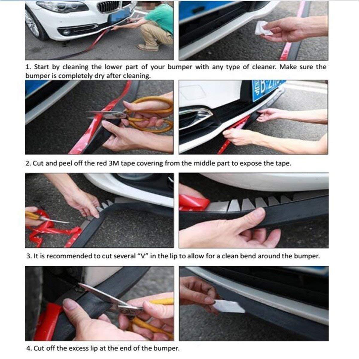 Nero + Argento Spoiler Protezione Paraurti per Auto CompraFun Protettore Respingente Auto Anteriore Fibra di Carbonio Lip Modanatura Frontale 2.5m Universale Sticker Lip Bumper Forte Appiccicoso