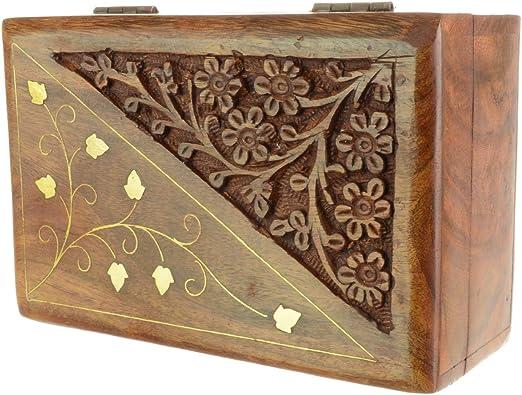Piquaboo Caja de Tarot Tallada de Madera sólida con Motivos Florales 15x10cm: Amazon.es: Hogar