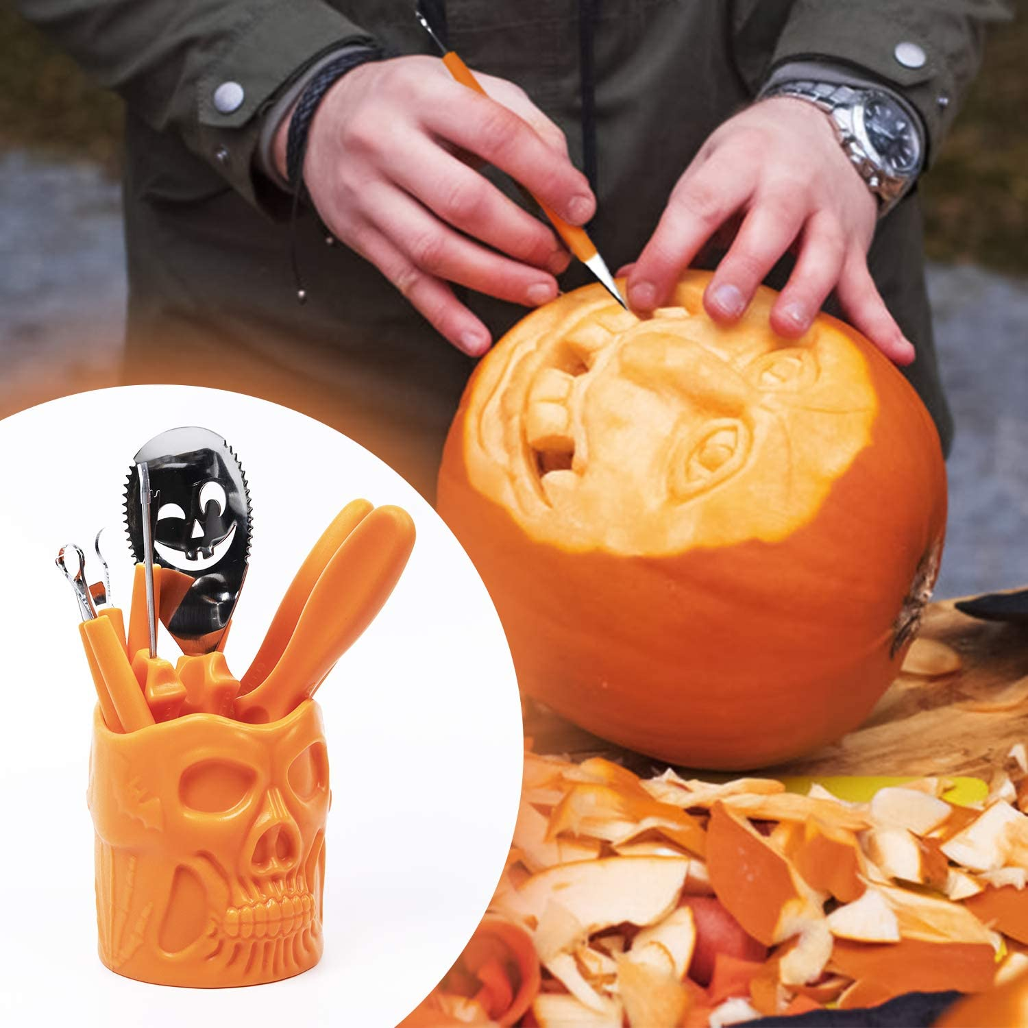 SZILBZ Halloween Pumpkin Carving Kit,Professional and Heavy Duty Stainless Steel Tools,Pumpkin Carving Set with Carrying Case