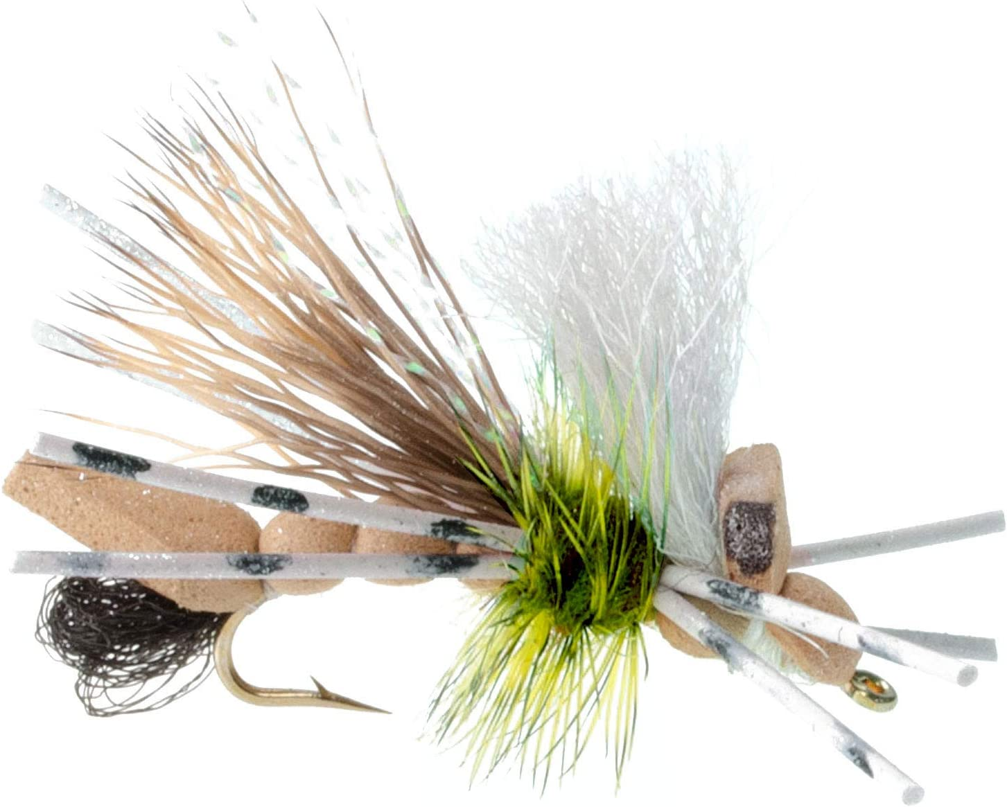 The Fly Fishing Place Water Trout Hopper High Floating Foam Grasshopper Dry Fly Fishing Fly Hopper Dropper Indicator Fly Hook Size 10 4 Flies