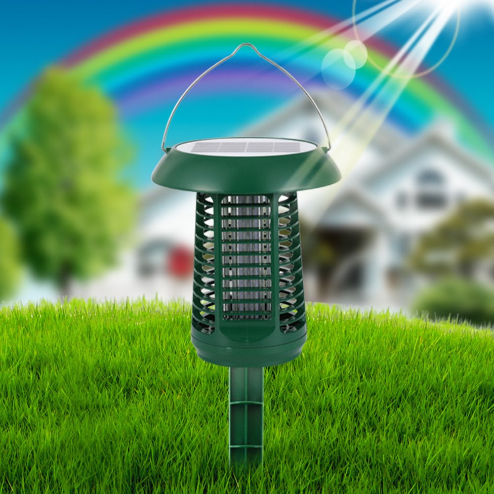 LUCKSTAR Solar Mosquito Zapper - Waterproof Solar Powered LED Light Pest Bug Zapper Insect Mosquito Killer- Hang Stake in the Ground Garden Lawn Residential, Commercial, Industrial