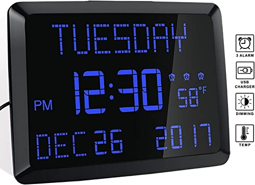 Day Clock, 11.5 Extra Large Display LED Digital Desk Wall Calendar Alarm Day Clock with Date and Time, Battery Backup 3 Alarms – Perfect for Elderly, Impaired Vision, Seniors, Dementia