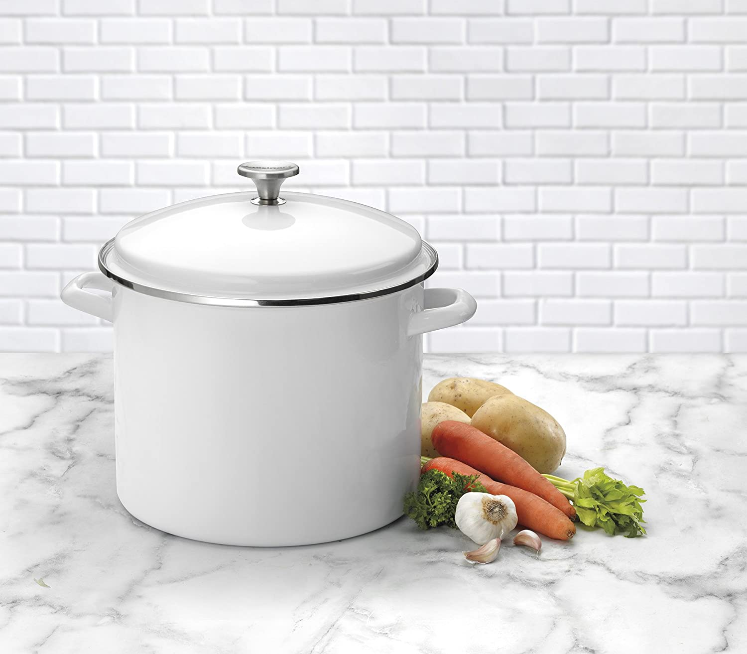 Red Cuisinart 3-pc 12 Qt Stockpot//Steaming Set W//Self-Draining Clip