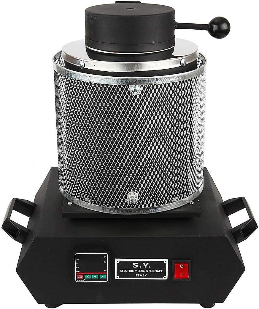 IRONWALLS 2KG 110V Gold Melting Furnace Digital Melting Furnace Machine with Crucible Tong Casting Refining Metal Gold Silver