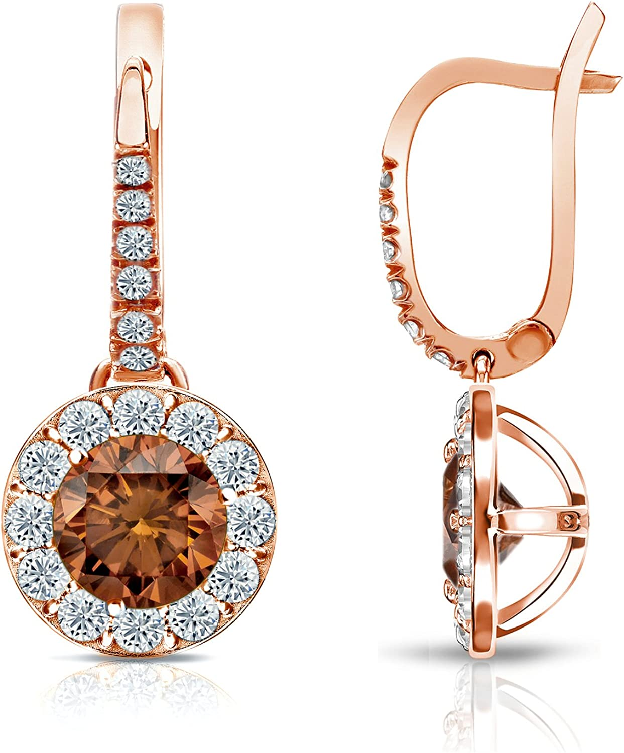 Amazon Com 14k Rose Gold Dangle Halo Round Brown Diamond Stud Earrings 1 Cttw Brown H I Color Si1 Si2 Clarity Jewelry