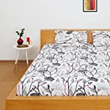 Solimo Silk Finish Floral Flurry 180 TC 100% Cotton Double Bedsheet with 2  Pillow Covers - Pink