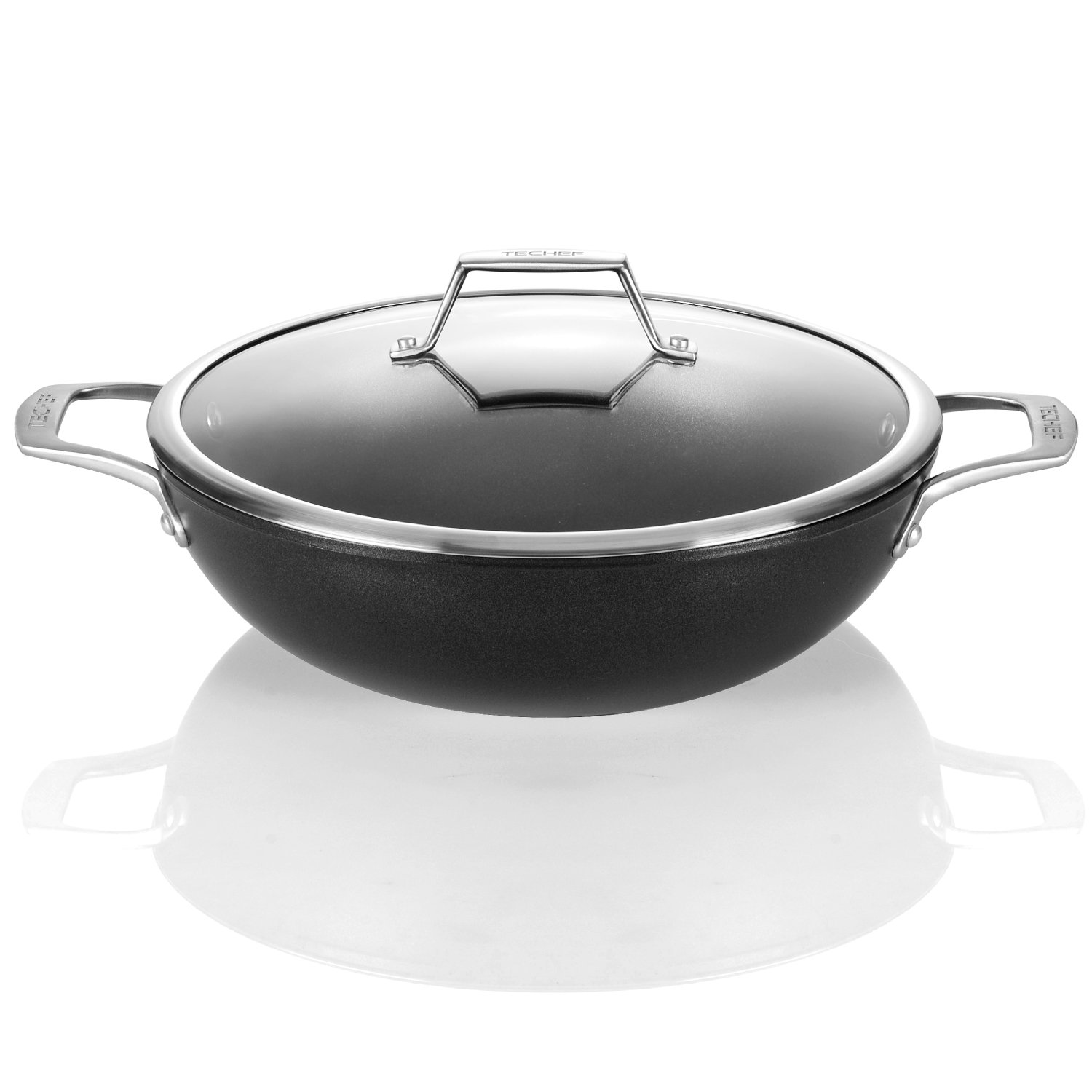 TECHEF - Onyx Collection, 12-Inch Wok/Stir Fry Pan with Glass Lid, coated with New Teflon Platinum Non-Stick Coating (PFOA Free) OXWL