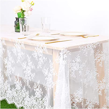 """Scranton Lace Company Lace Table Cloth 90/"""" Round White CAMELLIA New"""