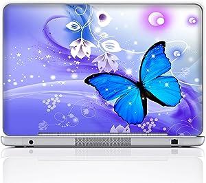 Meffort Inc 15 15.6 Inch Laptop Notebook Skin Sticker Cover Art Decal (Free Wrist pad) - Blue Purple Butterfly