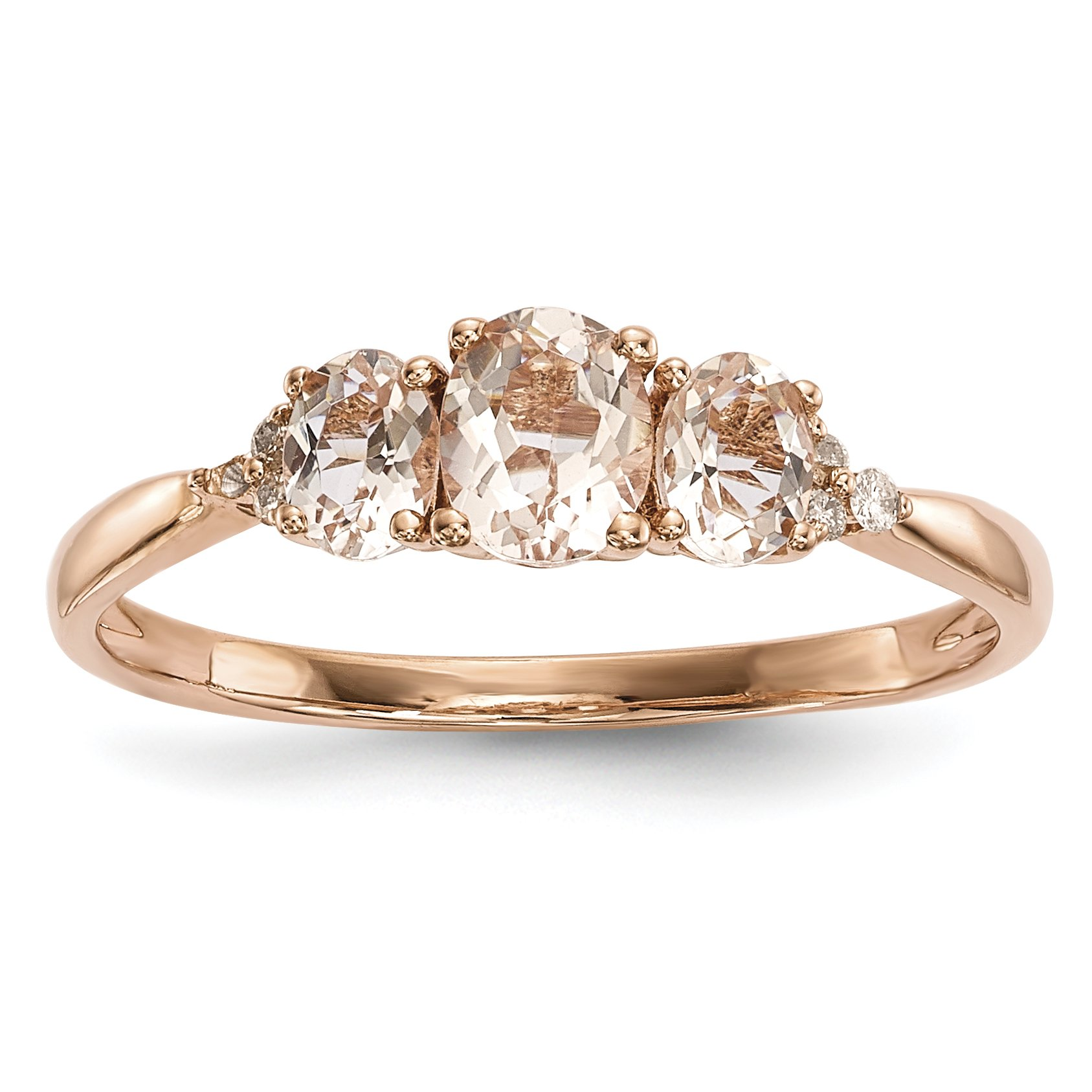 ICE CARATS 14k Rose Gold Triple Pink Morganite Diamond Band Ring Size 7.00 Gemstone Fine Jewelry Gift Set For Women Heart