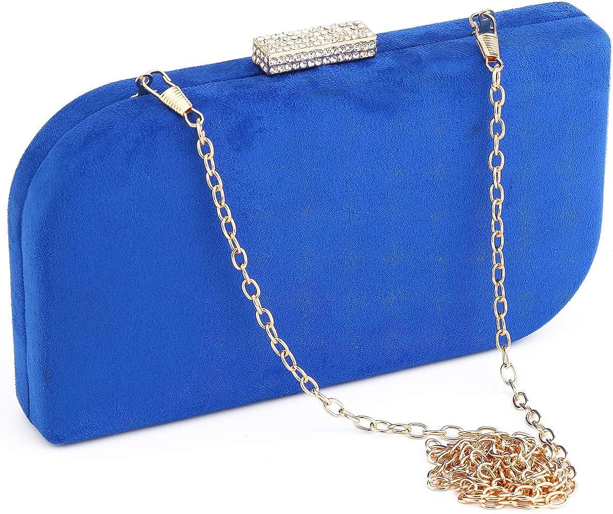 Party Clutch Bags Suede Night Purse Handbag Metal Frame Clutches Rhinestone Snap Evening Bride Wedding Bag