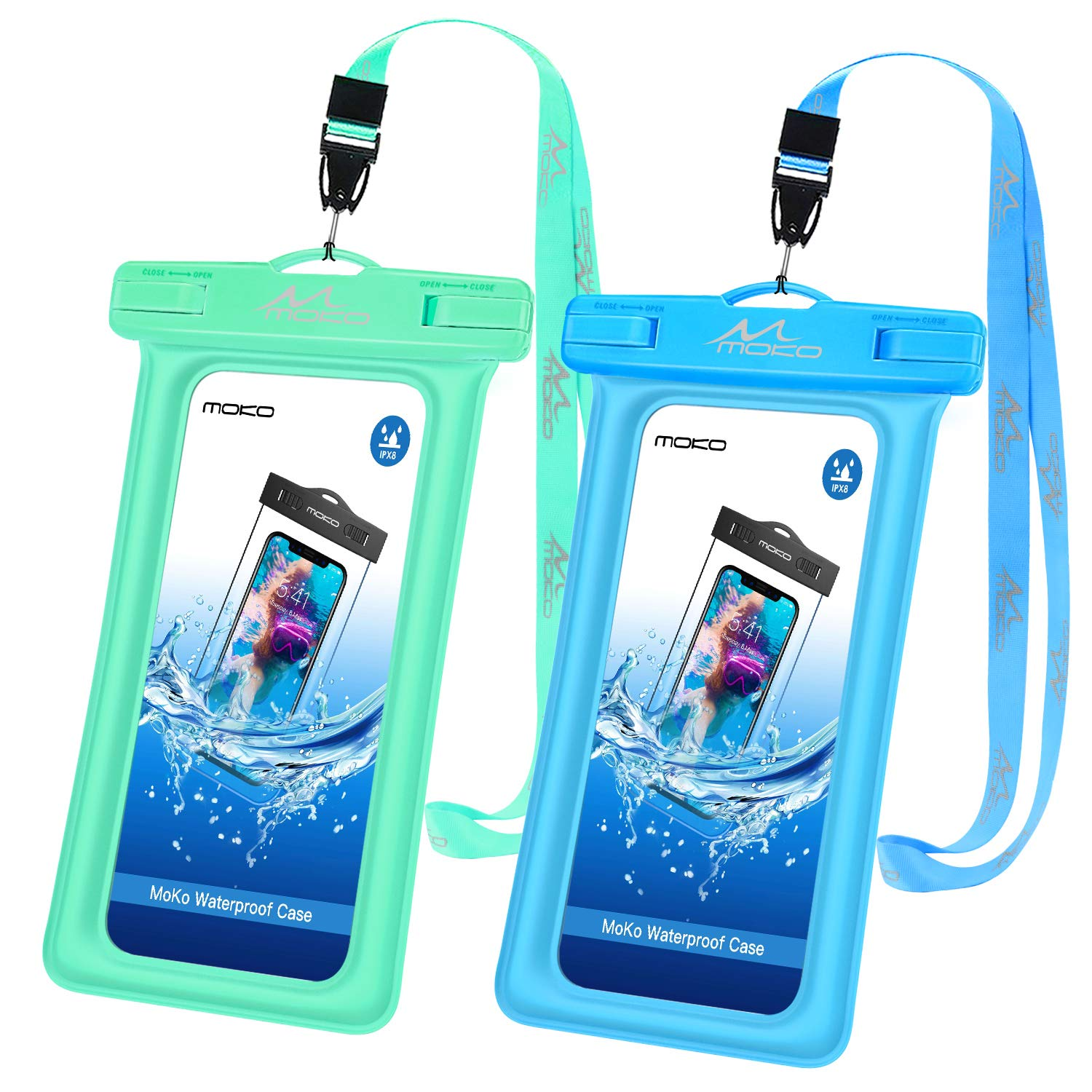 Note 10//9//8 S10e Samsung S10//S9//S8 Plus 8//7//6 Plus X//Xs//Xr//Xs Max Floatable Phone Case Dry Bag with Lanyard Compatible with iPhone 11//11 Pro MoKo Floating Waterproof Phone Pouch 2 Pack A10E