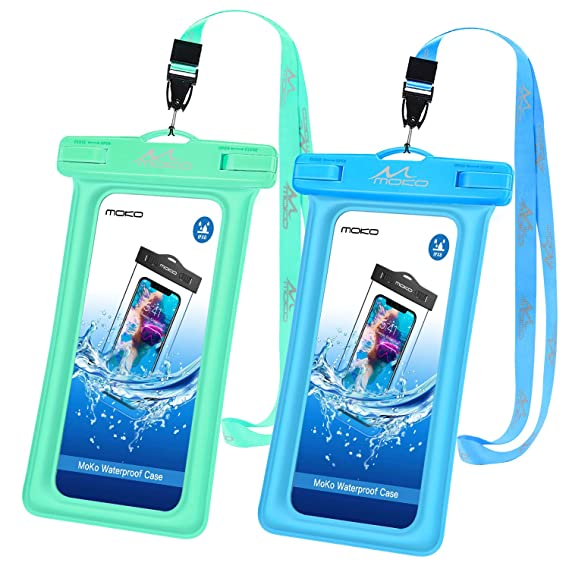 timeless design 6c540 bf53e MoKo Floating Waterproof Phone Pouch [2 Pack], Waterproof Cellphone Case  Dry Bag Holder with Lanyard Compatible iPhone X/Xs/Xr/Xs Max, 8/7/6s Plus,  ...