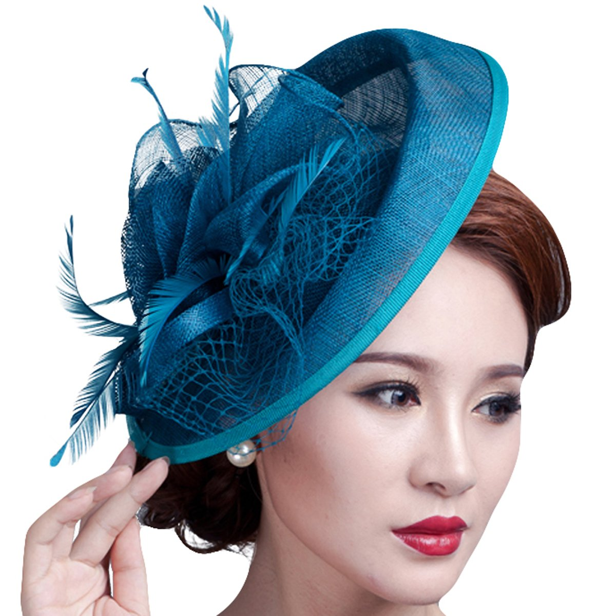 Fascigirl Party Fascinator Hair Clip Pillbox Hat Cocktail Kentucky Derby Hat for Ladies