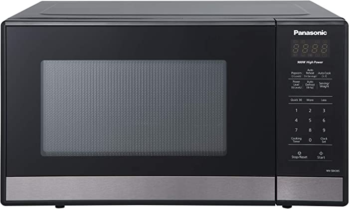 Panasonic NN-SB438S Compact Microwave Oven, 0.9 cft, Black Stainless Steel