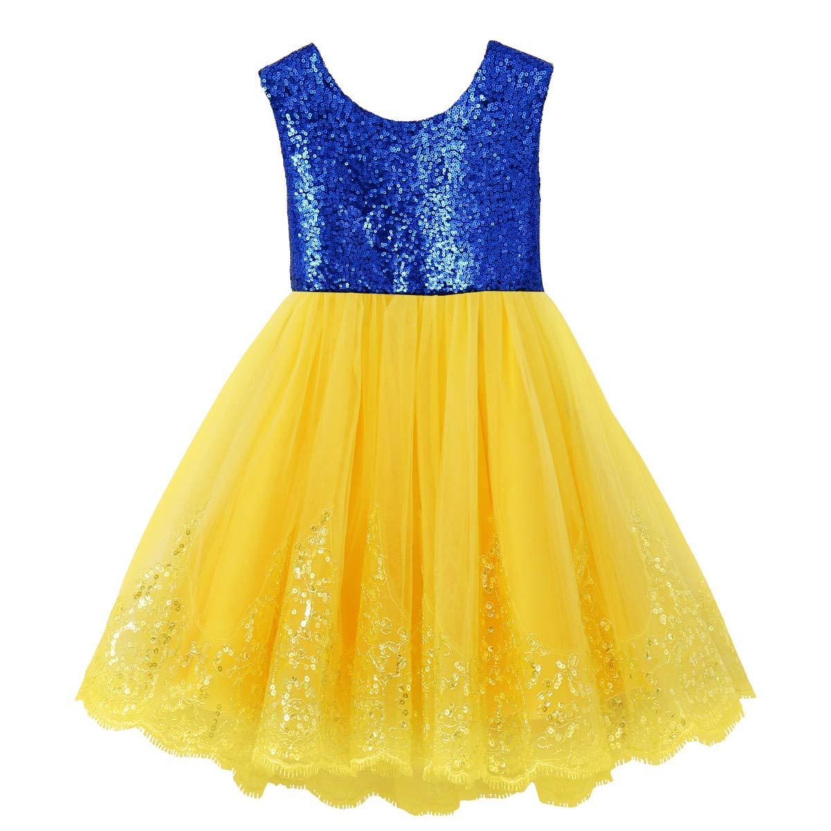 IWEMEK Kids Girls Snow White Princess Fancy Costume Dresses Up Cosplay Birthday Party Floor Length Dance Evening Gown B 6-7