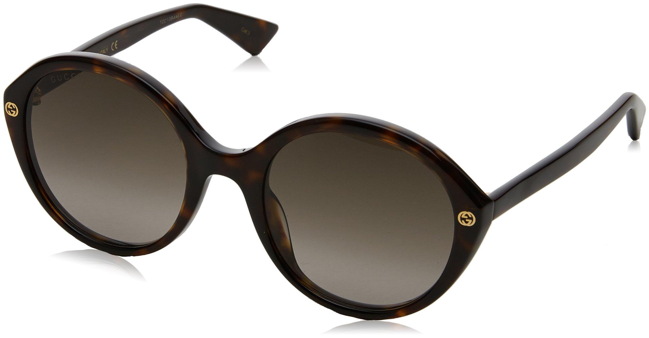 Gucci Women's GG0023S GG/0023/S 002 Havana/Gold Fashion Sunglasses 55mm