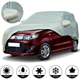 AllExtreme W7003 Car Body Cover for Maruti Suzuki Wagon R Custom Fit Water Resistant Rain Dust Heat for Indoor Outdoor Protection (WagonR, Silver with Mirror)