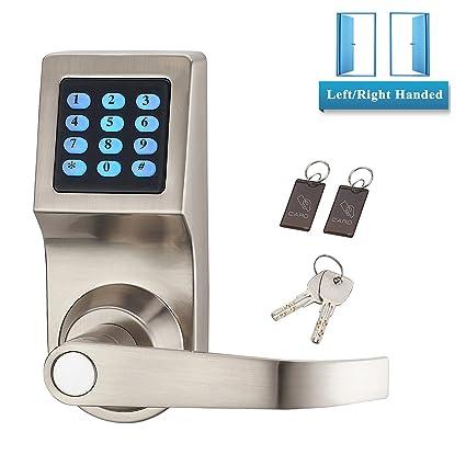 Níquel satinado manilla para puerta sin llave cerradura combinación Eléctrico Entrada Digital Código teclado contraseña con