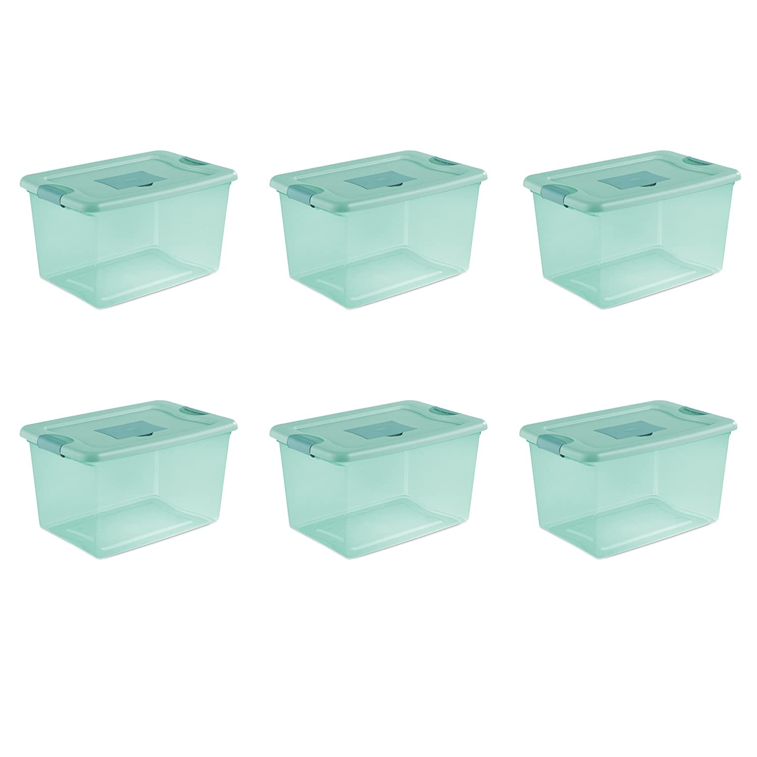 Sterilite 15077Y06 64 Qt, 61L Fresh Scent Box, Aqua Tent base with Aqua Chrome Lid & Teal Splash Latches, 6-Pack