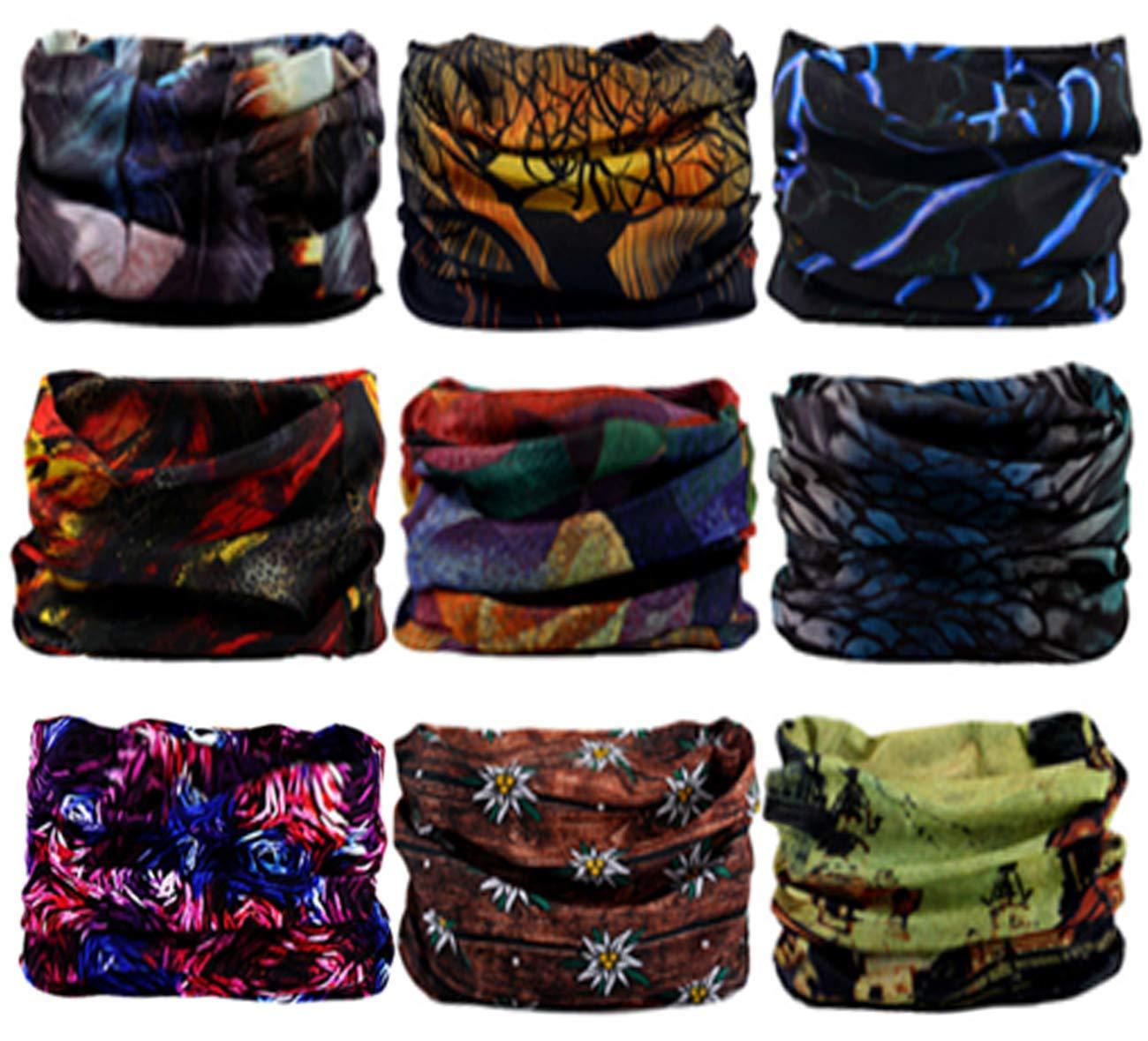 SmilerSmile 6pcs Assorted Seamless Outdoor Sport Bandanna Headwrap Scarf Wrap, 12 in 2 High Elastic Magic Headband & Collars Muffler Scarf Face Mask UV Resistance(17 Tender Night)