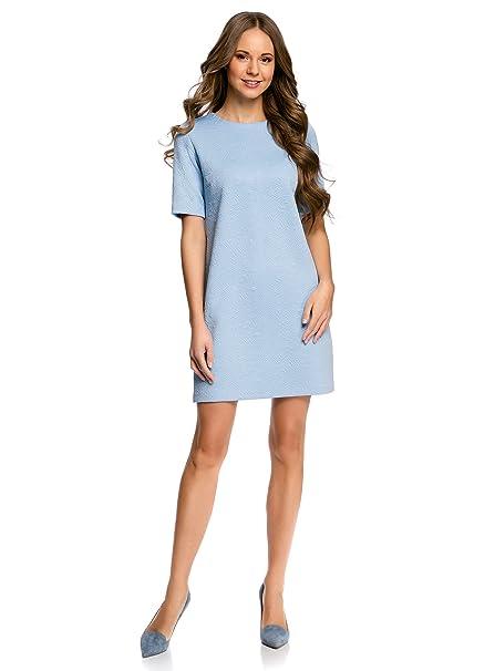 oodji Collection Mujer Vestido Recto de Tejido Texturizado, Azul, ES 36 / XS