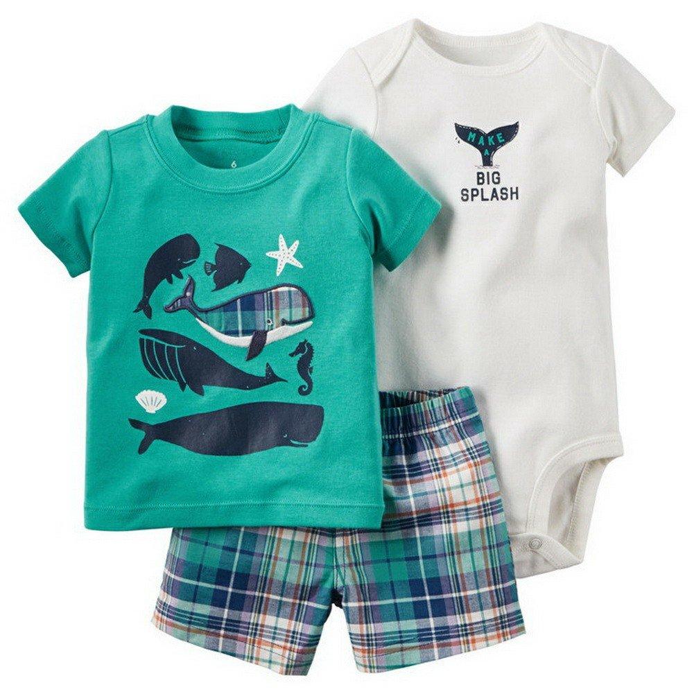 ARAUS Short Sleeve Romper Suit for Baby boy Cartoon Print T-Shirt Top + Plaid Shorts Pants + Bodysuit Jumpsuit Summer Clothing Set 3 Pack