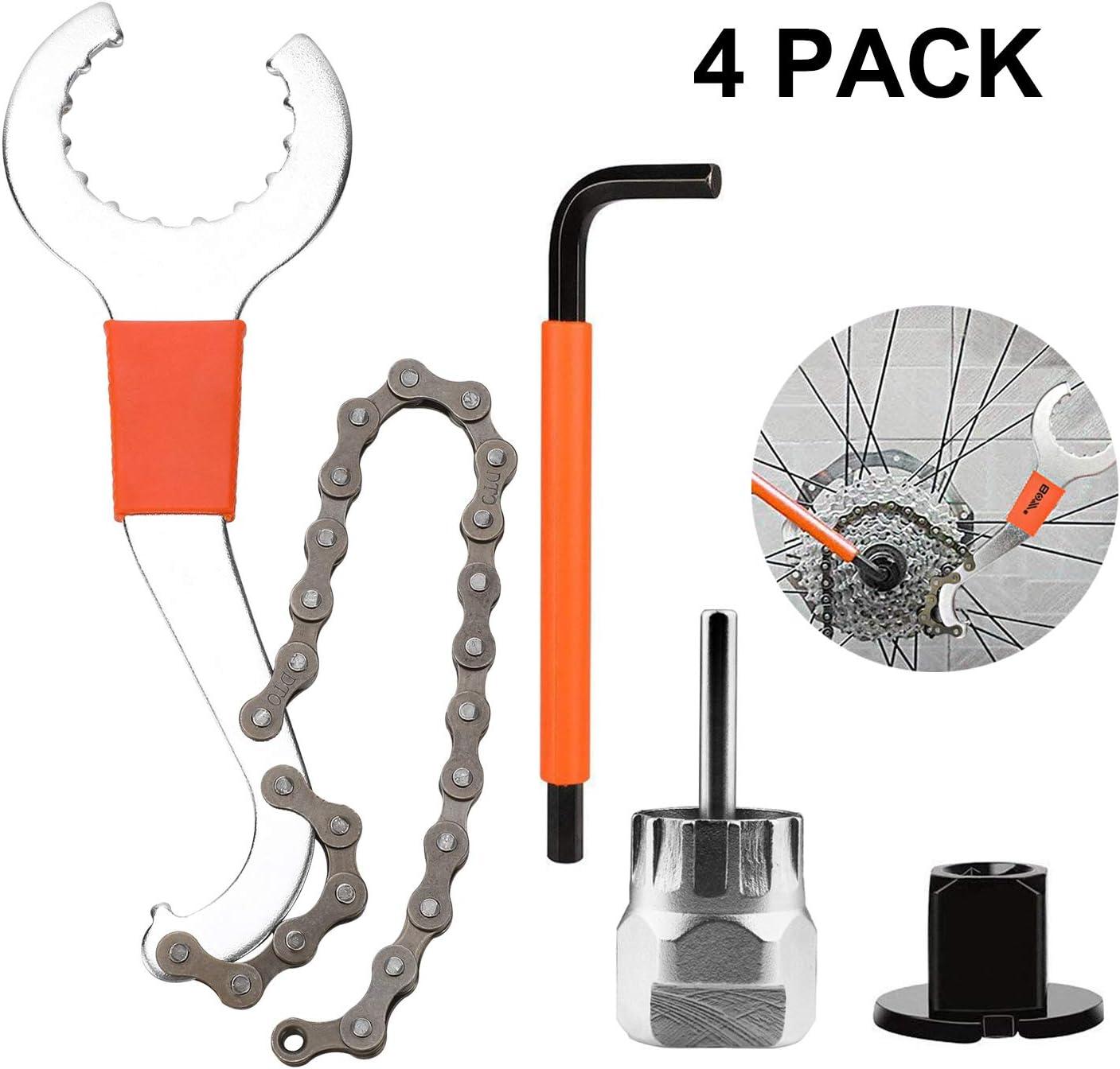 Qkurt - Juego de herramientas para quitar piñones de bicicleta, herramienta de extracción de casete de bicicleta con cadena, llave auxiliar, rotor y extractor de piñones