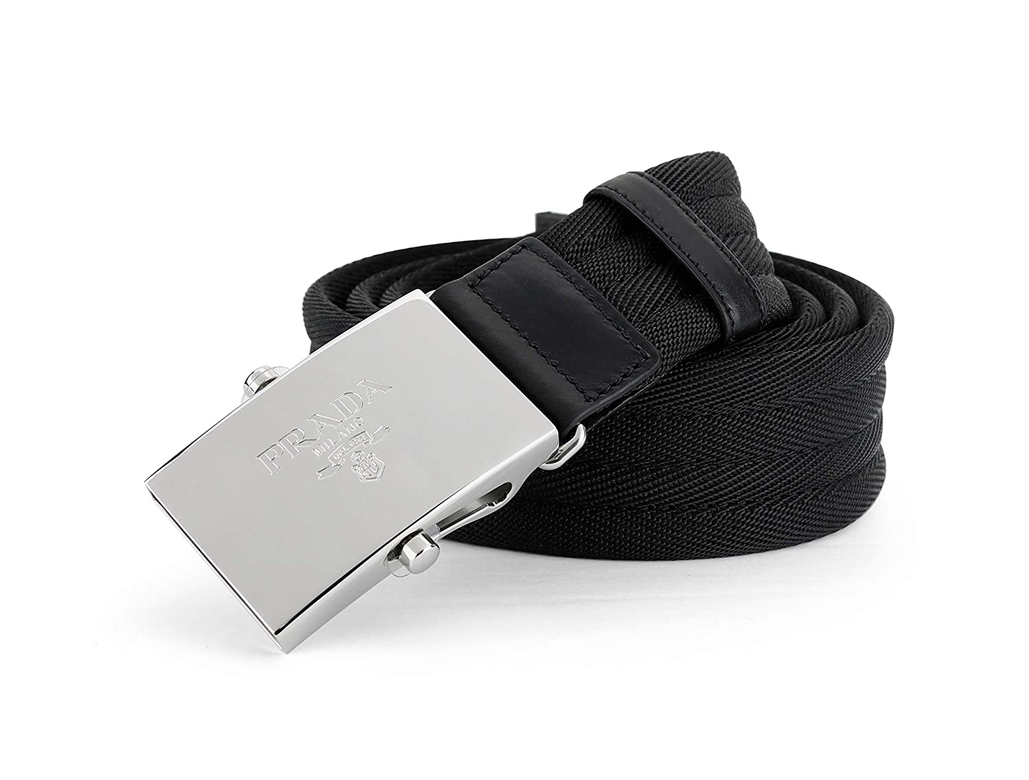8c7a685d532455 Prada Nastro Sport 1 Web Logo Plaque Belt, Black 2CN003 (34-36 US (90)) at  Amazon Men's Clothing store:
