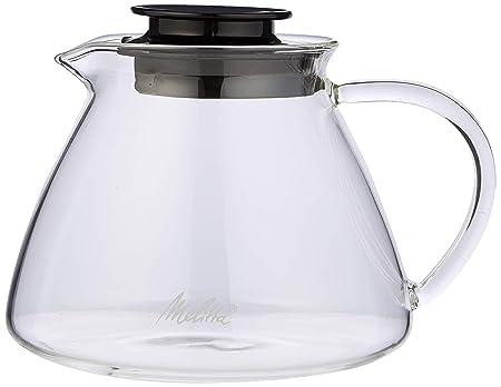Melitta Jarra de cristal, Para preparación manual de café con portafiltros Pour Over, Asa antiquemaduras, 0,7L, Transparente