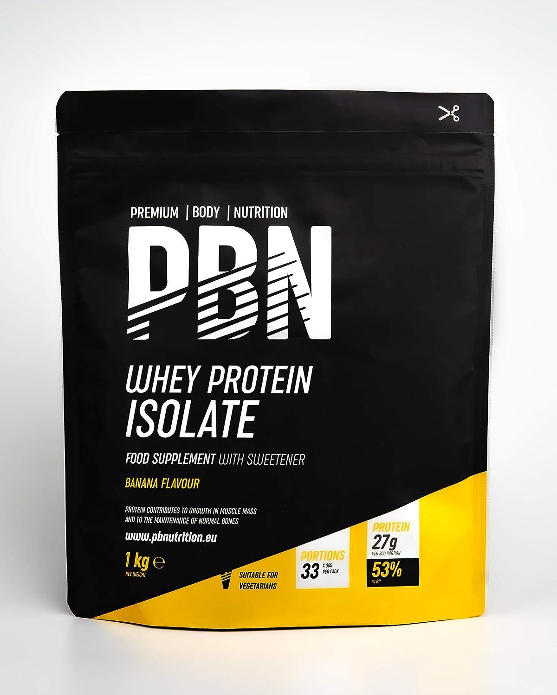 PBN - Premium Body Nutrition - Aislado de proteína de suero de leche en polvo (Whey-ISOLATE), 1 kg, sabor plátano (33 porciones)