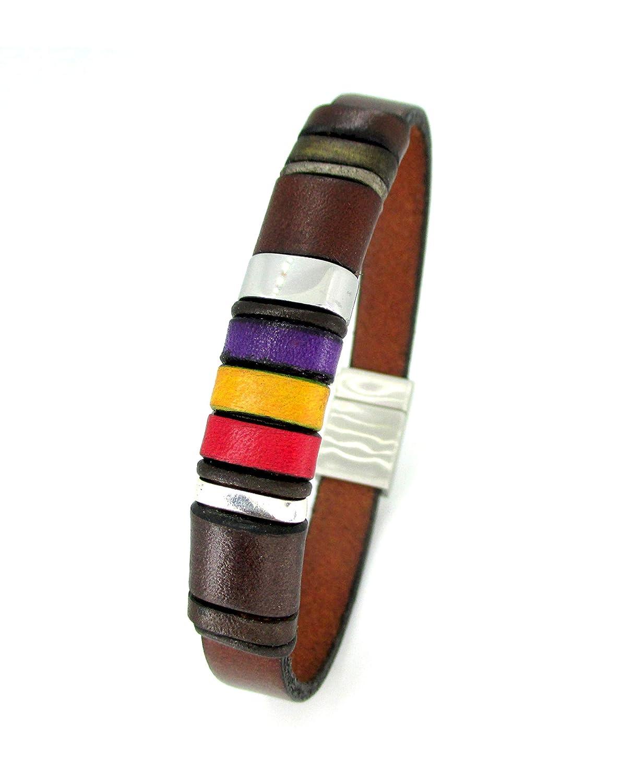 Pulsera cuero marrón, pulsera bandera republicana, accesorio de ...