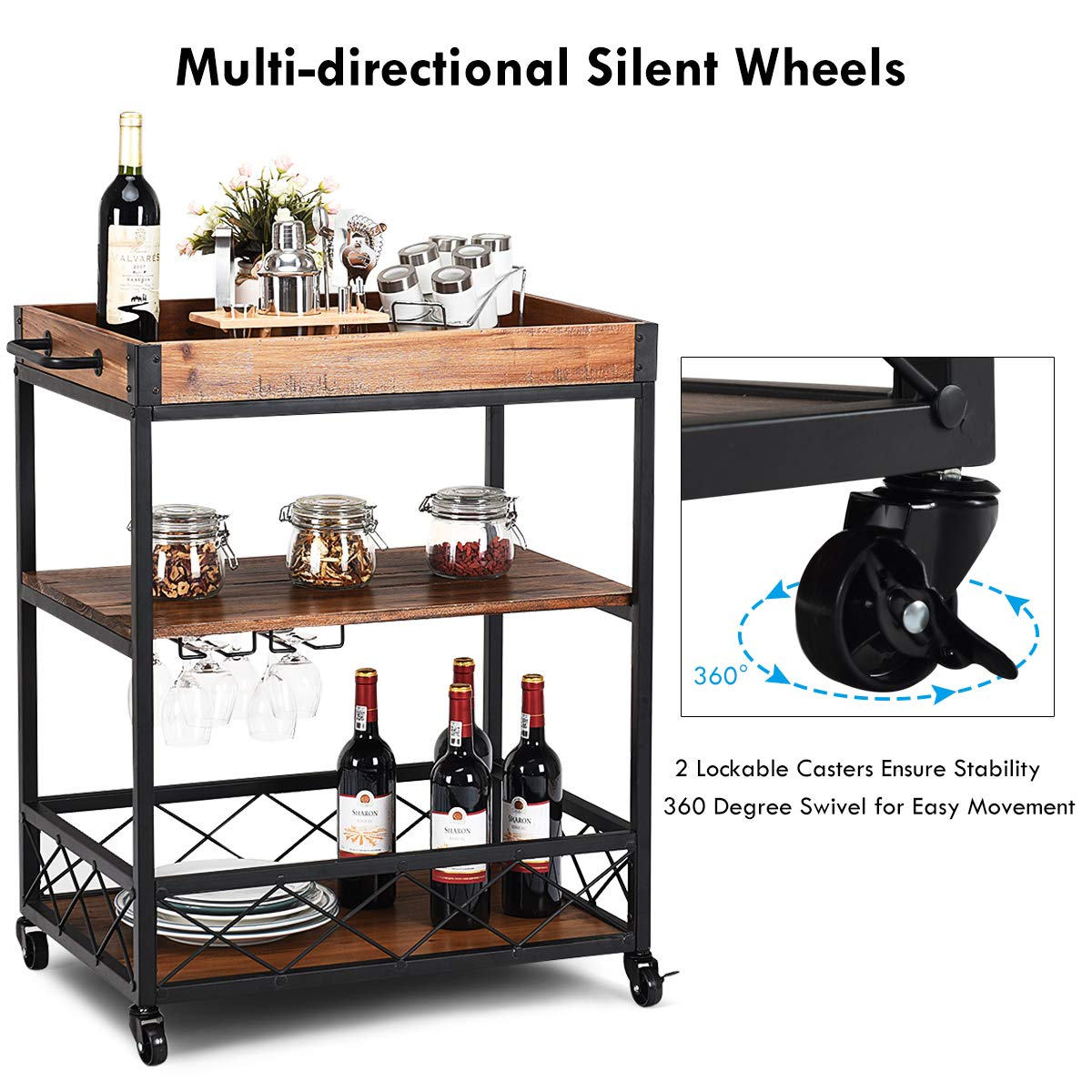Giantex Kitchen Trolley Cart Island Rolling Serving Carts Utility Cart 3 Tier Storage Shelf with Glass Holde, Handle Racks, Lockable Caster Wheels Kitchen Carts Islands w/Removable Wood Box Container by Giantex (Image #6)