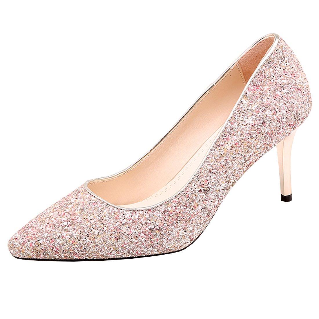 9cc5a76f0d05cf Artfaerie Damen High Heels Glitzer Slip on Pumps mit Spitze und Stiletto  Hochzeit Braut Elegante Schuhe  Amazon.de  Schuhe   Handtaschen