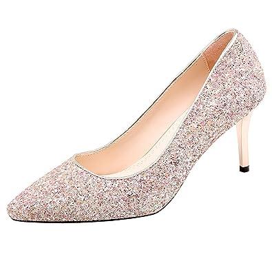 d882bb6b87cc43 Artfaerie Damen High Heels Glitzer Slip on Pumps mit Spitze und Stiletto  Hochzeit Braut Elegante Schuhe