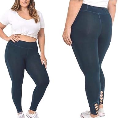 2551e76e10e Amazon.com  Women s Plus Size Lattice Criss Cross Strappy Yoga ...