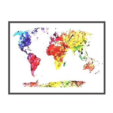 Amazon boieo watercolor world map canvas wall decal art for boieo watercolor world map canvas wall decal art for home wall decorations 197quot gumiabroncs Choice Image